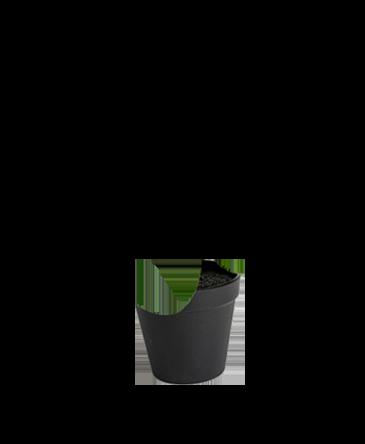 zwarte pot voor planten met gat erin